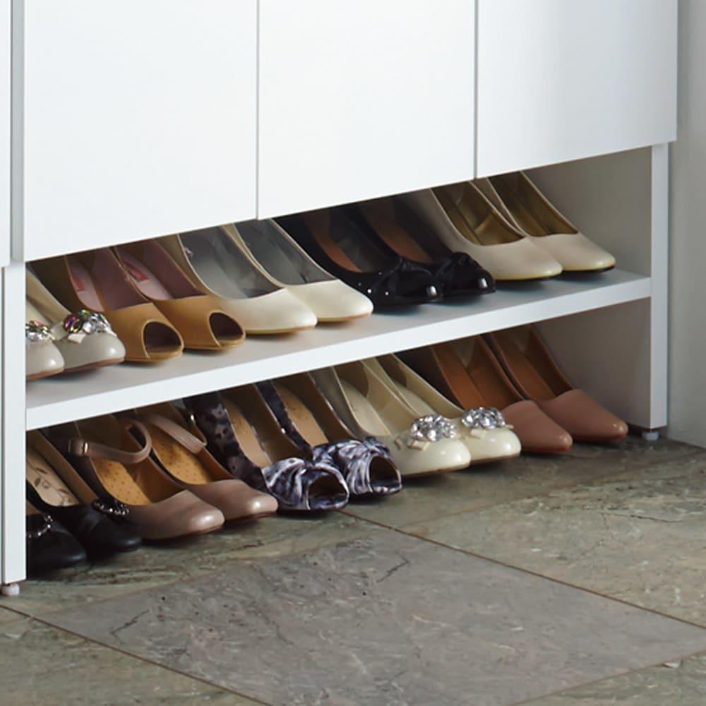靴が出し入れしやすい下段オープンシューズボックス 飾り棚ハイ・幅75.5cm 普段履きの靴が一か所にぎっしり収納!