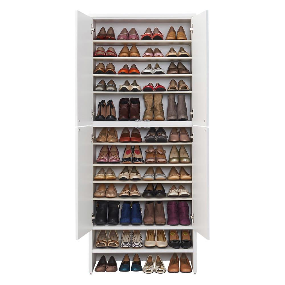 靴が出し入れしやすい下段オープンシューズボックス 扉ハイ・幅75.5cm 収納イメージ(ア)ホワイト 靴の収納足数は約48足