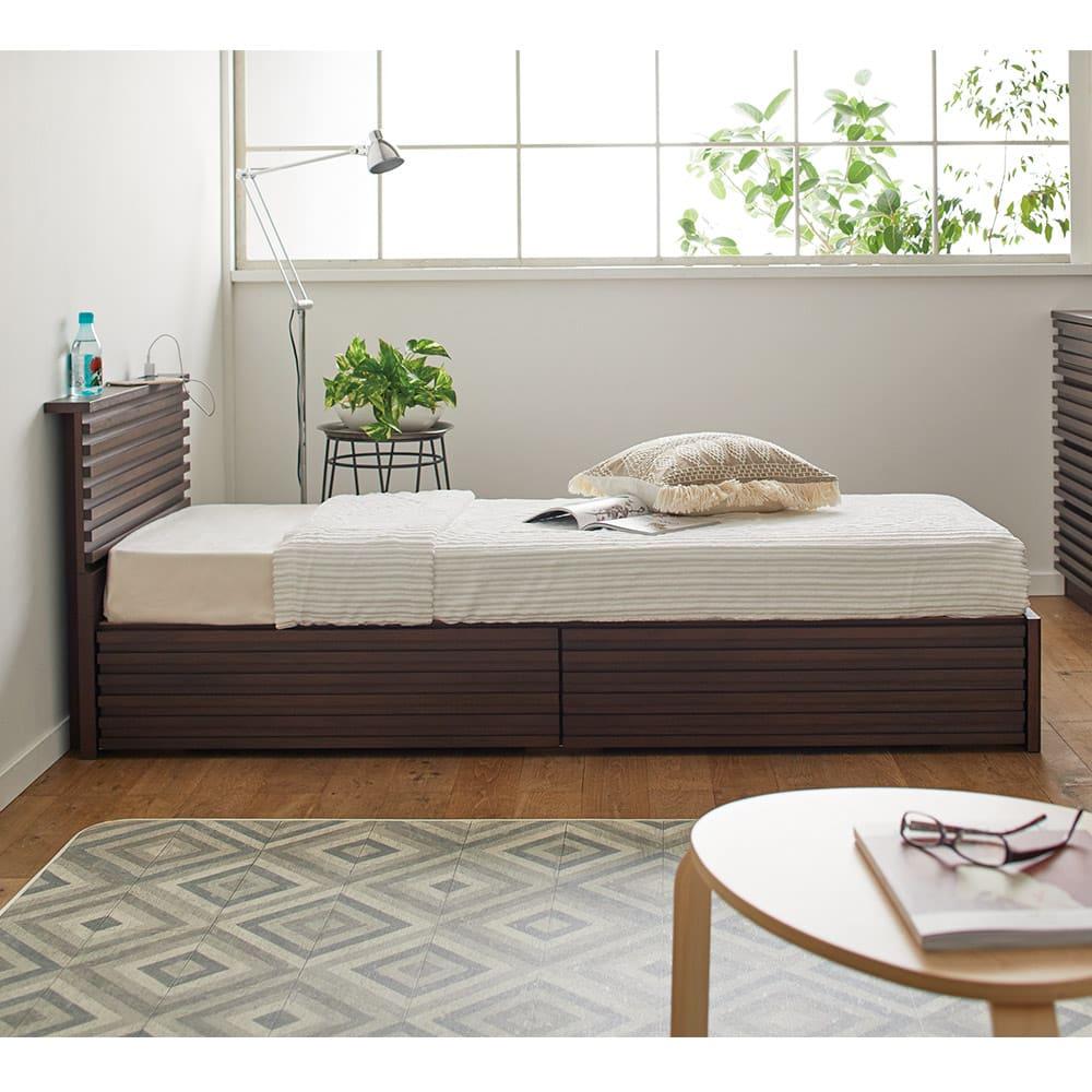ウォルナット格子調ベッド フレームのみ ショート丈(長さ194cm) ※販売はフレームのみです。 コンパクトなスペースにもピッタリおさまります