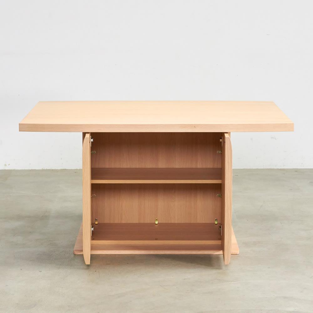 Portale/ポルターレ 収納庫付きテーブル 幅140cm 扉オープン時