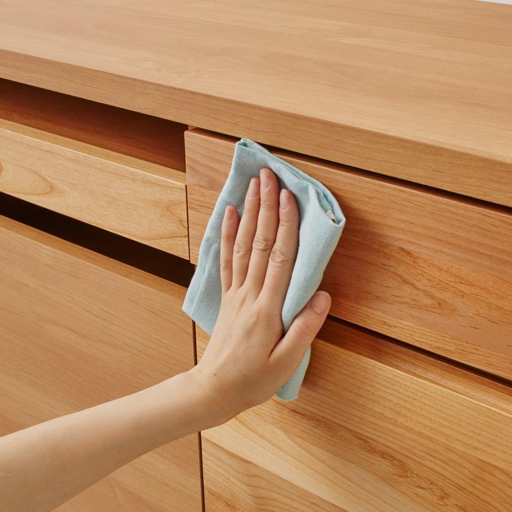 ナチュラルモダンPCデスク 幅90cm 前板は強化化粧合板で汚れに強く安心です。