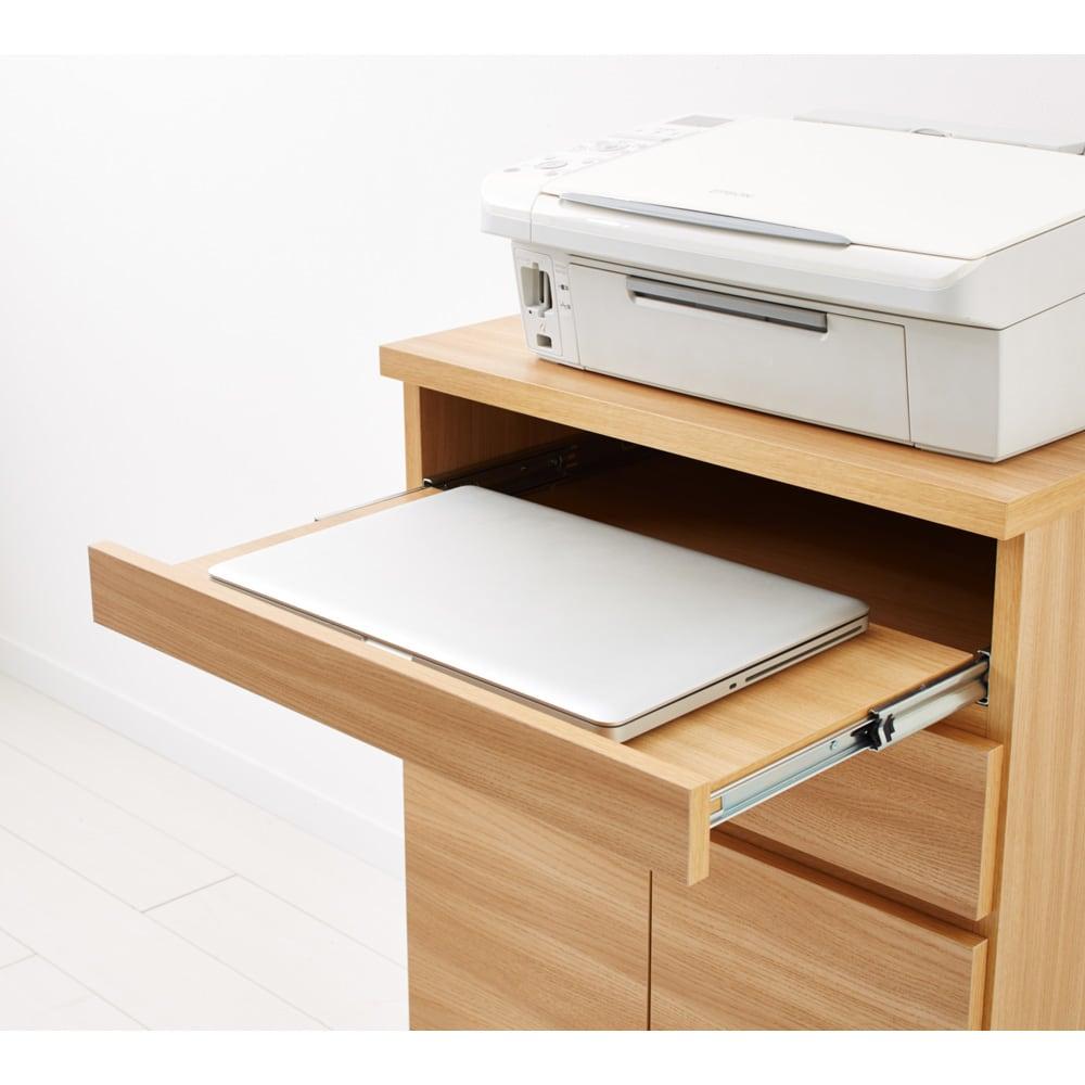 ナチュラルモダンPCデスク 幅90cm スライドテーブル付でノートパソコン作業にも便利。