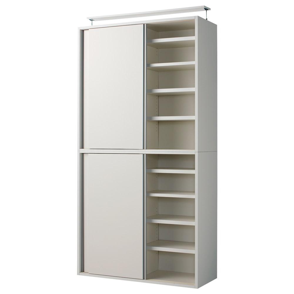 収納性が自慢の引き戸式本棚 幅120本体高さ228cm (ウ)ホワイト