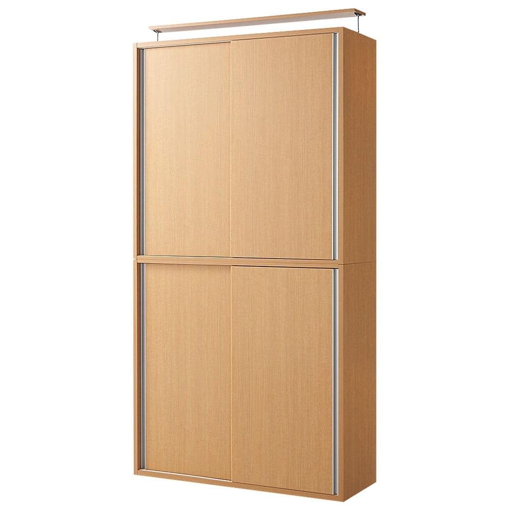 収納性が自慢の引き戸式本棚 幅120本体高さ228cm (イ)ナチュラル