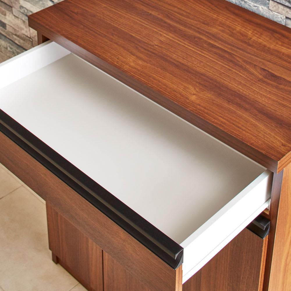 Gamlin/ガムリン 家具調ダストボックス 2分別 キッチン小物収納に便利な引き出し収納付き。引き出し内部まで化粧仕上げです