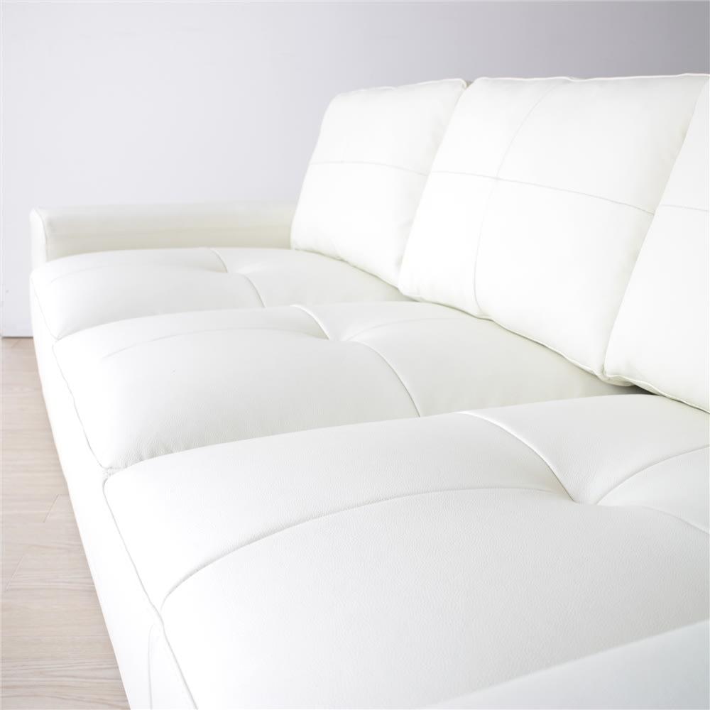 本革張りフロアソファ 幅195cm(3人掛けトリプルソファ) ボリューム感のある座部クッション