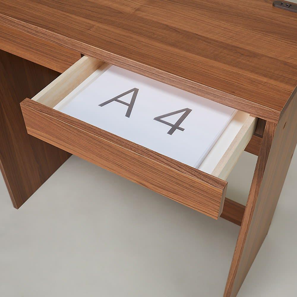 高さが選べるスタンディングデスク 幅90cm高さ90cm 引出しはA4サイズ対応。散らかりがちな書類や筆記用具の整理に。