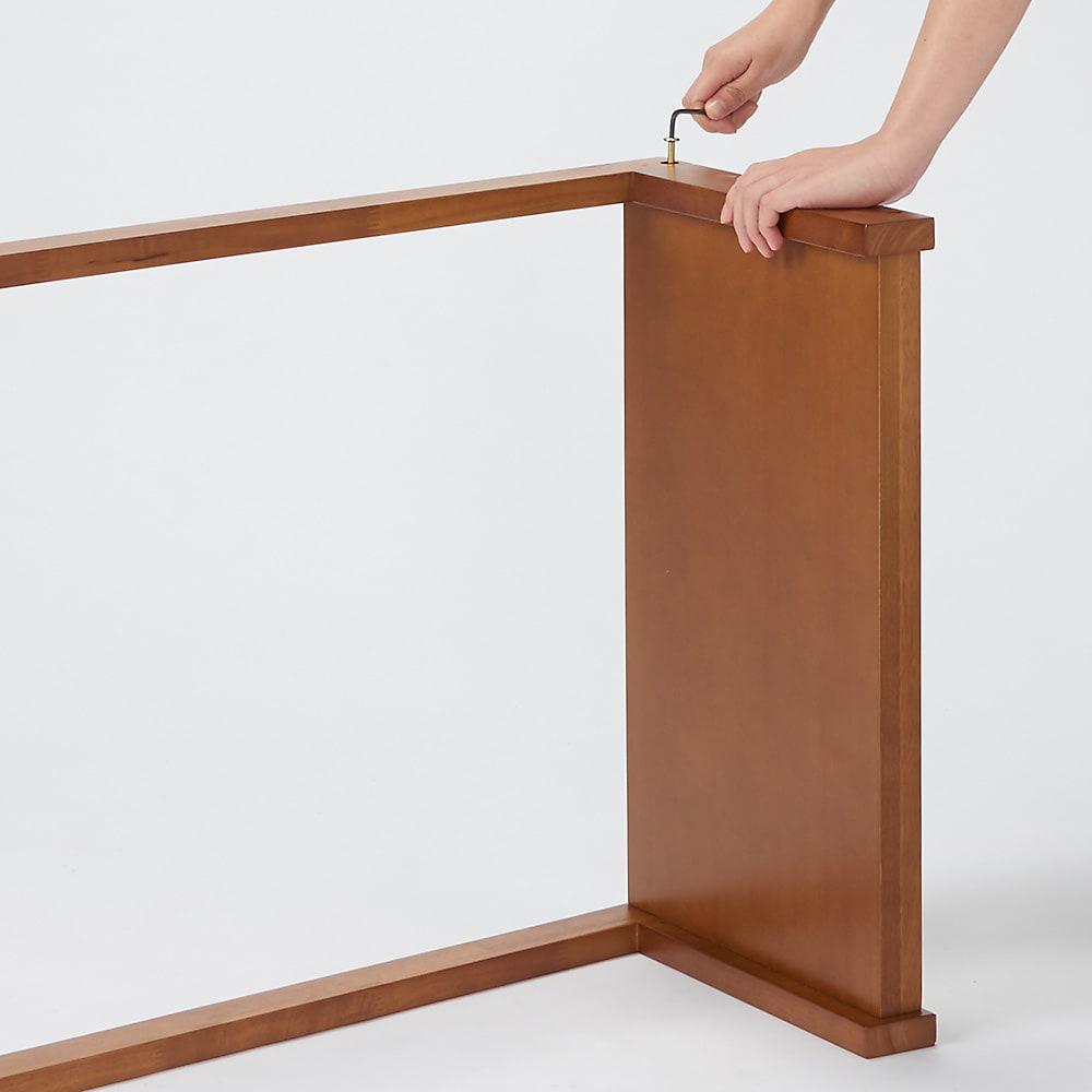場所を選ばない天然木L型ハンガー 幅50cm Step3:各場所のネジがしっかり留まっているか確認してください。
