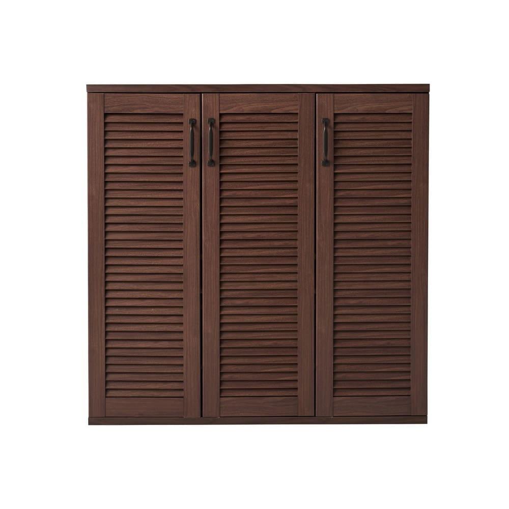 省スペースで快適なルーバー扉シューズボックス(幅90、高さ90cm) (イ)ダークブラウン