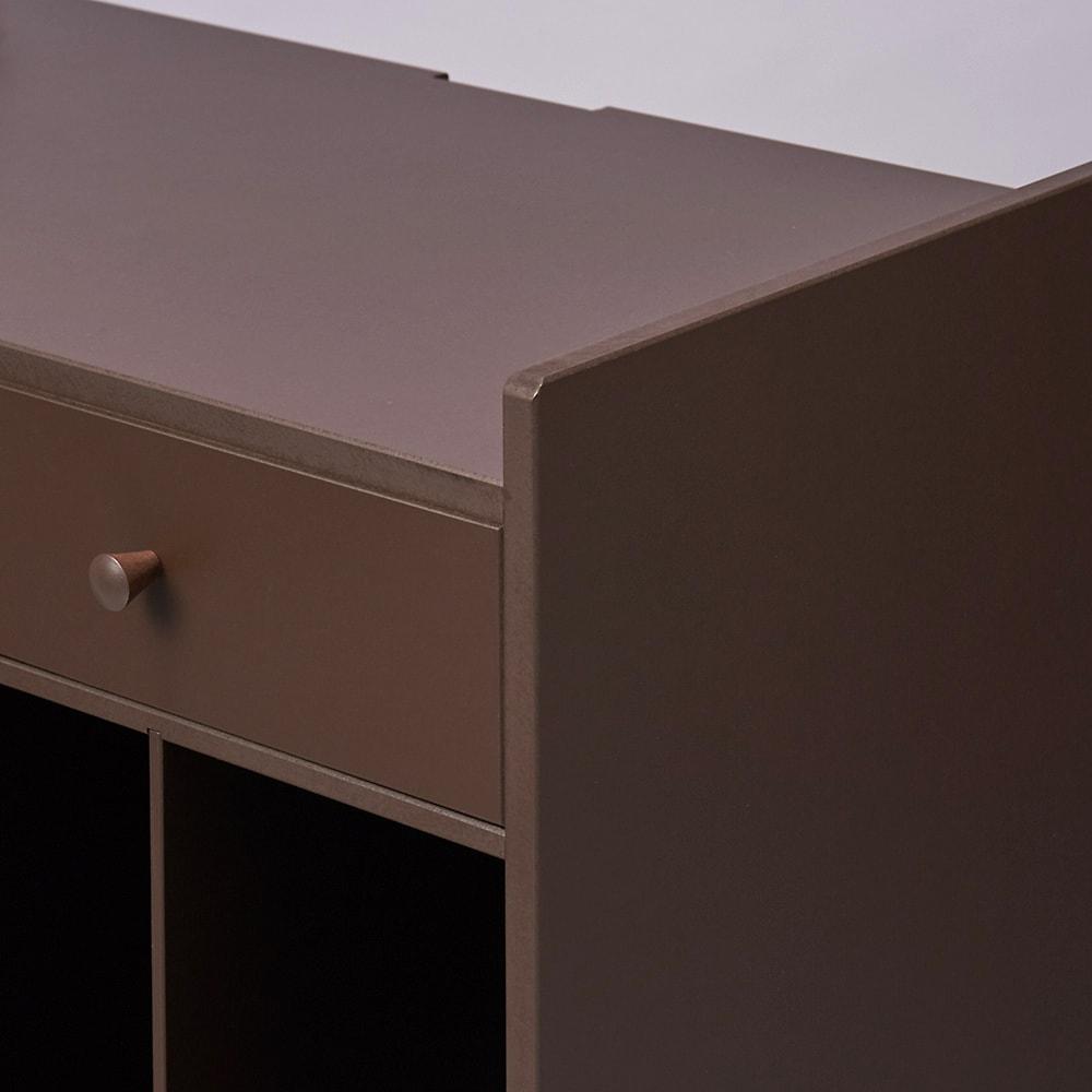配線すっきりデスクサイドラック オープンタイプ (イ)ダークブラウン