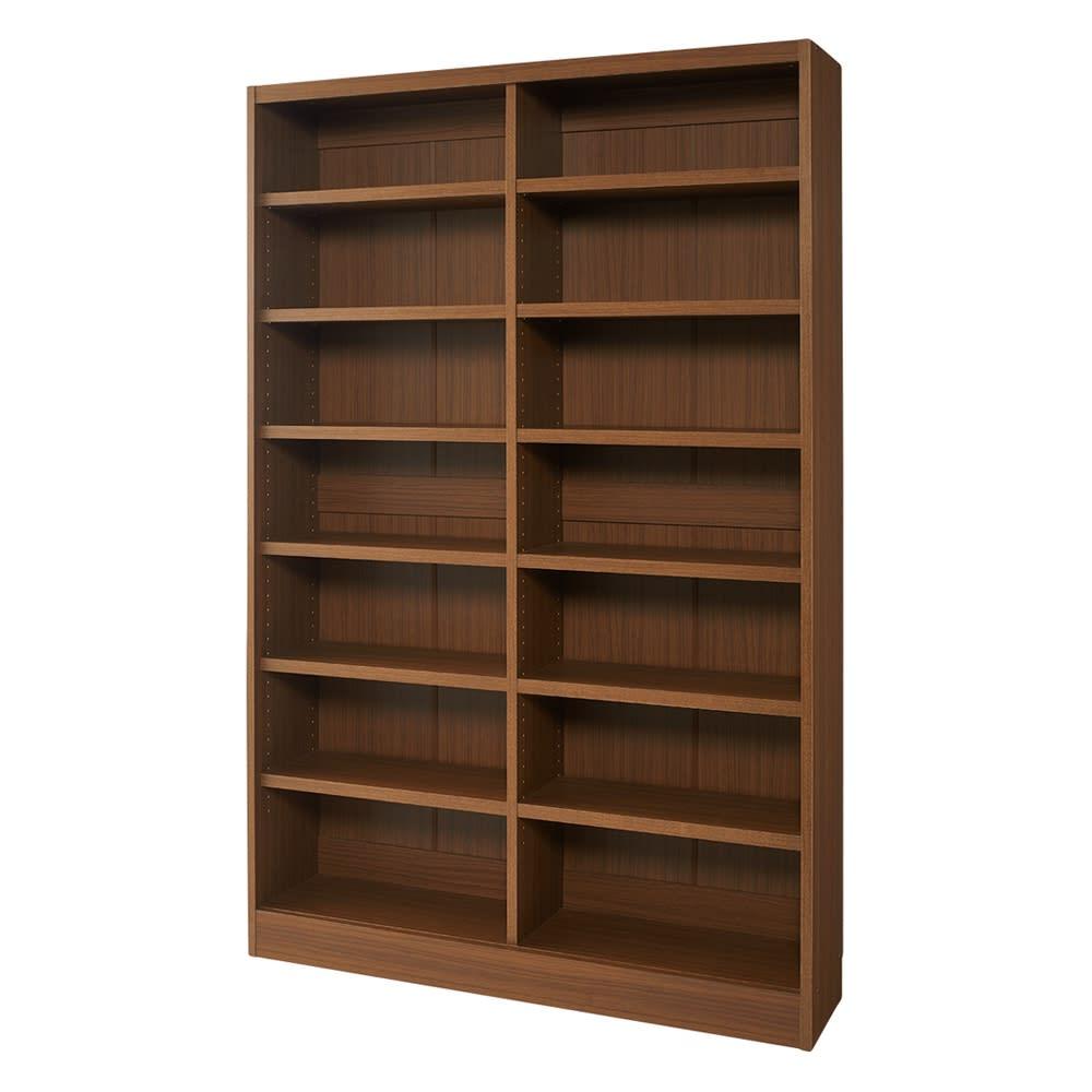 棚板の位置が選べる本棚(幅118cm本体高さ180cm) 商品イメージ:(ア)ダークブラウン 収納部内寸:幅55.5奥行25高さ166cm(左右それぞれ)