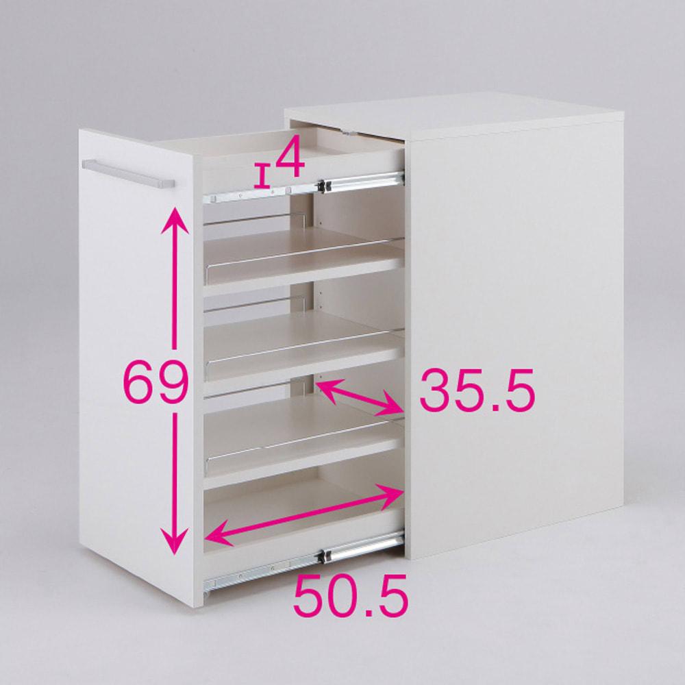 左右どちらからも取り出せる すき間スライド食器棚 ロータイプ 幅45奥行57cm ※赤文字は内寸(単位:cm)