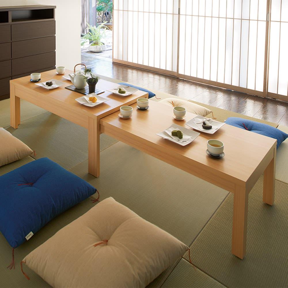伸長式座卓 幅105~194cm (イ)ナチュラル ≪テーブル最大幅194cm≫