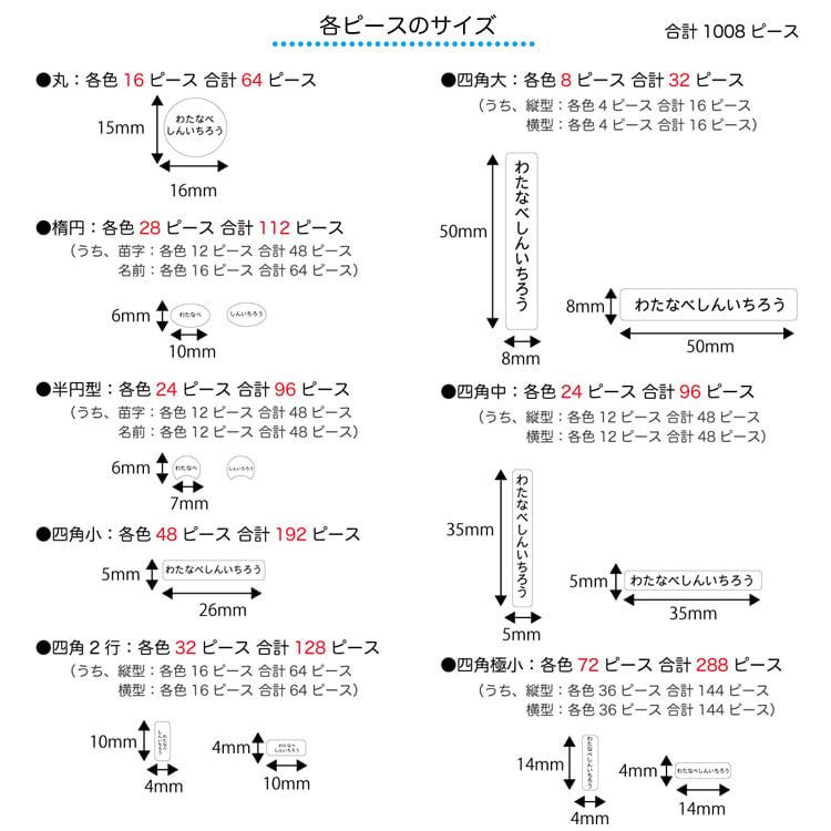 【ネームオーダー】カラフルお名前シール(計1008ピース)