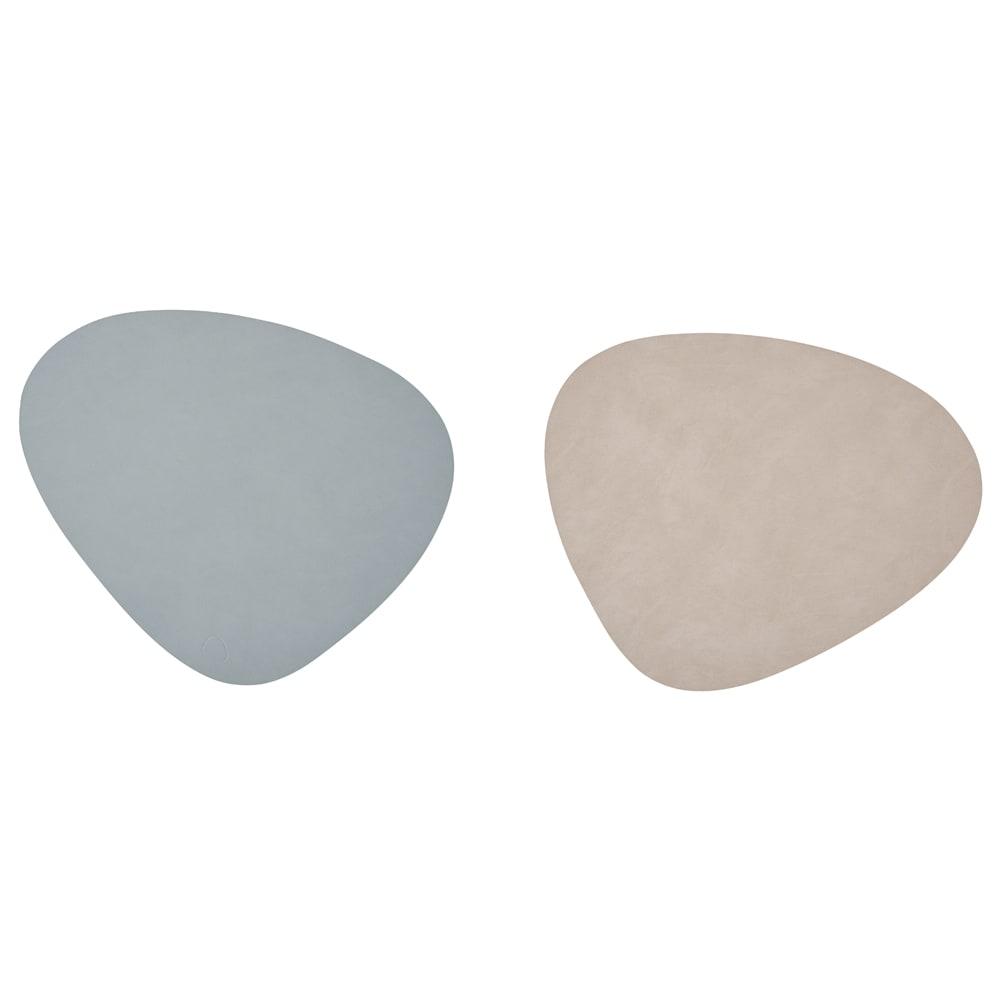 リバーシブルのレザーランチョンマット 1枚 (イ)ライトブルー/ライトグレーのリバーシブル