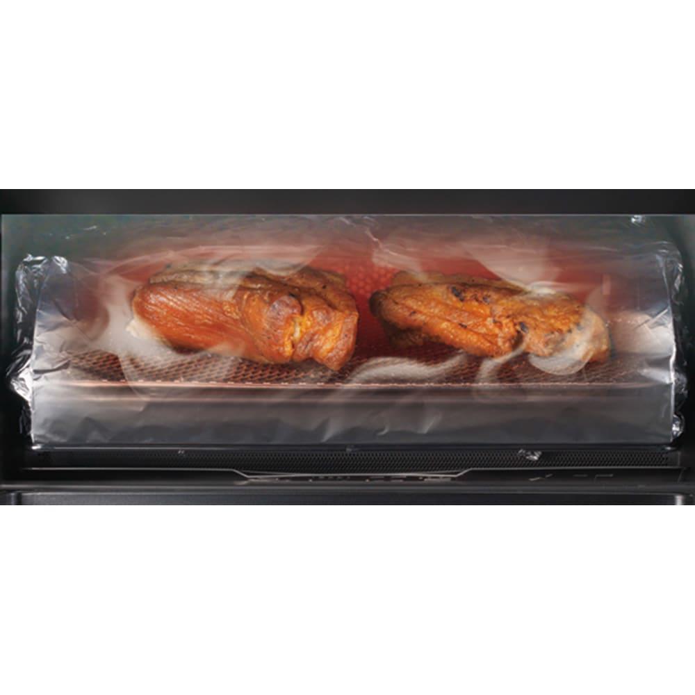 燻製もできるコンベクショントースター ディノス特典トレー付き 独自の庫内循環機能を採用。「クリーニングモード」を選択すればにおいや煙を軽減してくれるので、魚を焼いた後にトースターを焼いてもOKです。