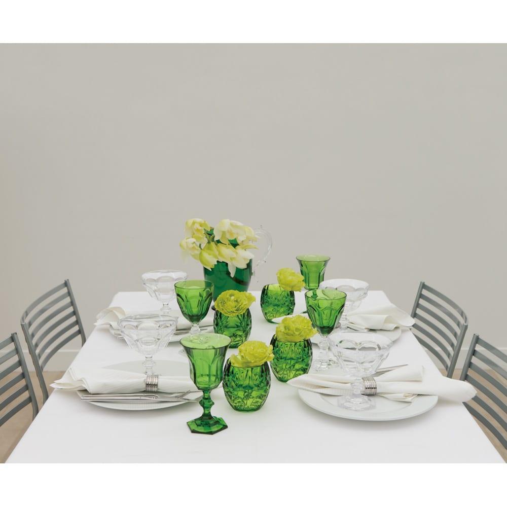 MARIOLUCA/マリオルカ 樹脂製のグラスシリーズ ピッチャー1個 (イ)グリーン使用例 こちらの写真の様に花瓶として使用するのもアイデアです。