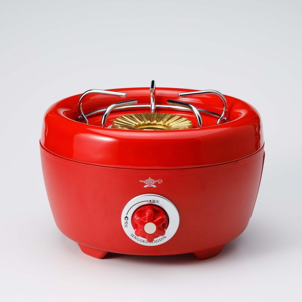 コンゴクアラジン Aladdin/アラジン カセットコンロ ヒバリン ア)レッド 五徳の上に土鍋やヤカンなど置いて使用することもできます。