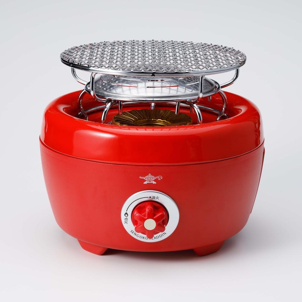 コンゴクアラジン Aladdin/アラジン カセットコンロ ヒバリン 付属のグリルキット(焼き網&ふく射プレート)を載せるた状態。お餅など焼くときに便利です。