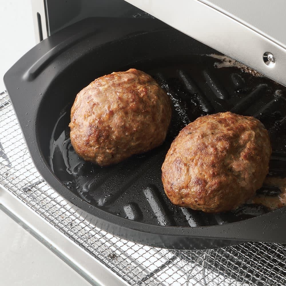 アラジン グリルアンドトースター 私の一押しハンバーグです。こんなにまんまるに焼けるのですよ!(こちらに写ってるグリルパンは旧型のグリルパンです)