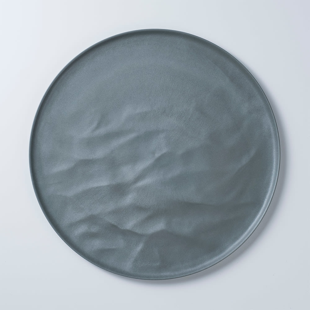 ARAS お皿27.5cm ウェーブ 割れないお皿 (エ)グリーングレー