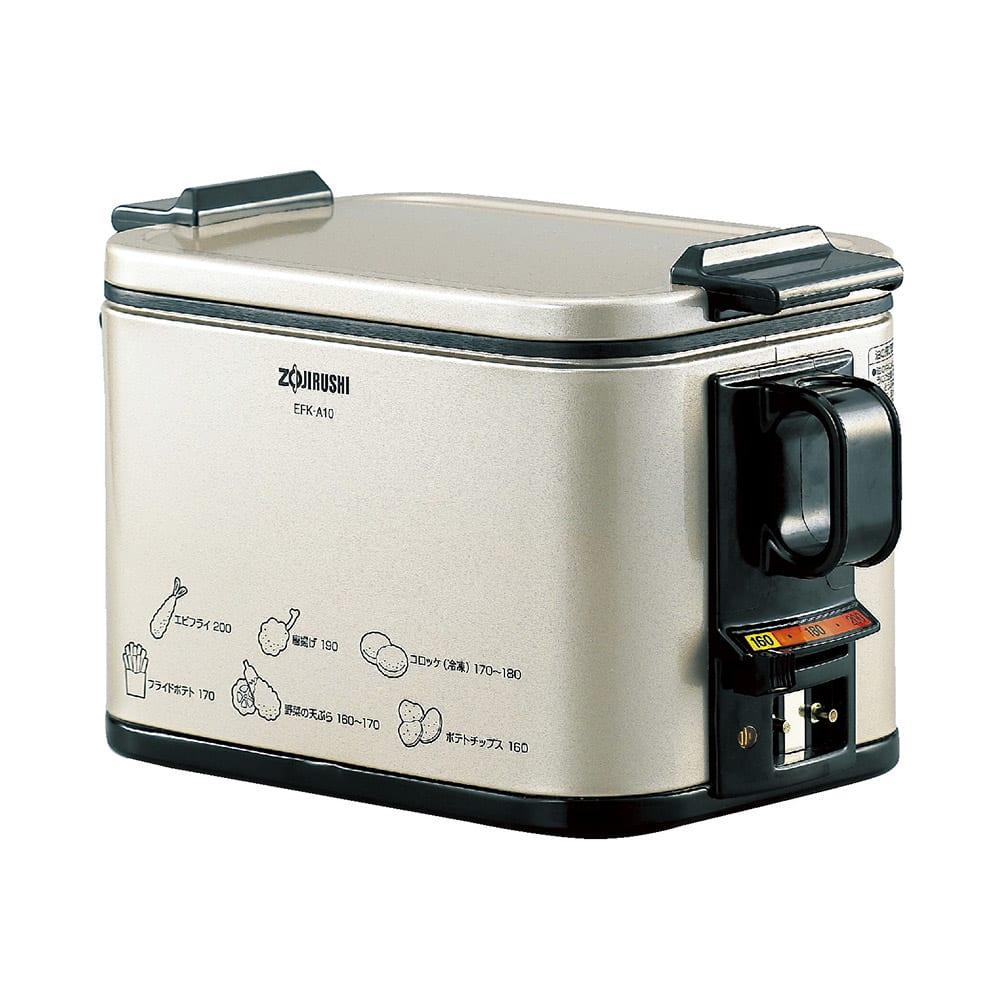 象印 電気フライヤー 調理例と調理温度が側面に書いてあります!