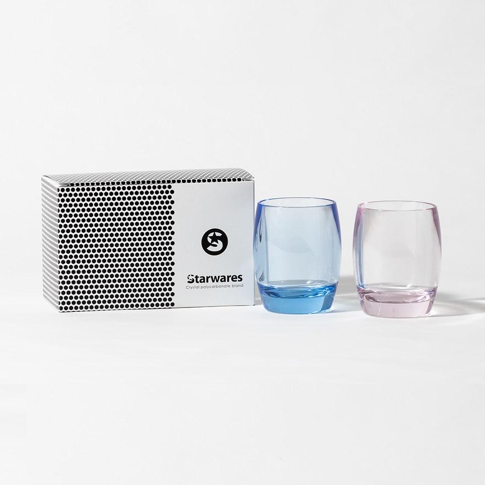 割れないグラスカラーランブラー ペアセット (イ)ピンク&ブルー