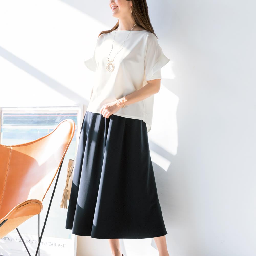2WAYストレッチ生地使用 シワになりにくいウェアシリーズ ジャージースカート コーディネート例