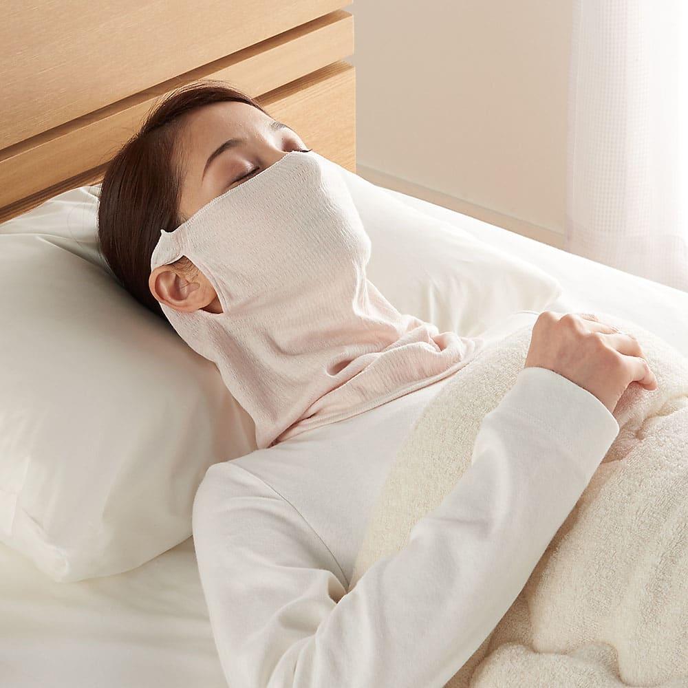 シルク使用UVカットシリーズ 2WAYマスク+アームカバー マスクは睡眠の時の乾燥防止用マスクにも。一年中使えます! ※画像のピンク色はマスク2枚組のみで販売中です。関連商品からお買い求めください
