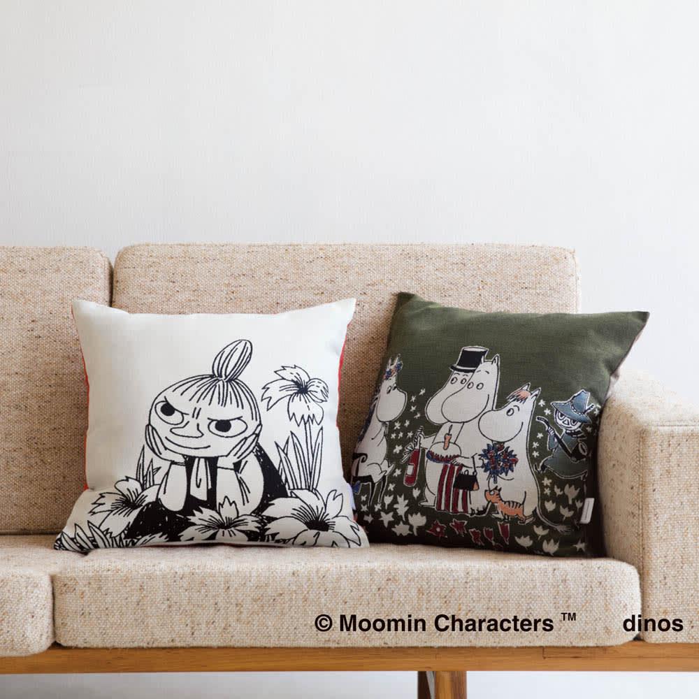 ムーミン 日本製ジャガード織クッションカバー 1枚 左から(イ)ナチュラル (ア)グリーン 立体的なデザインでリビングが華やかに