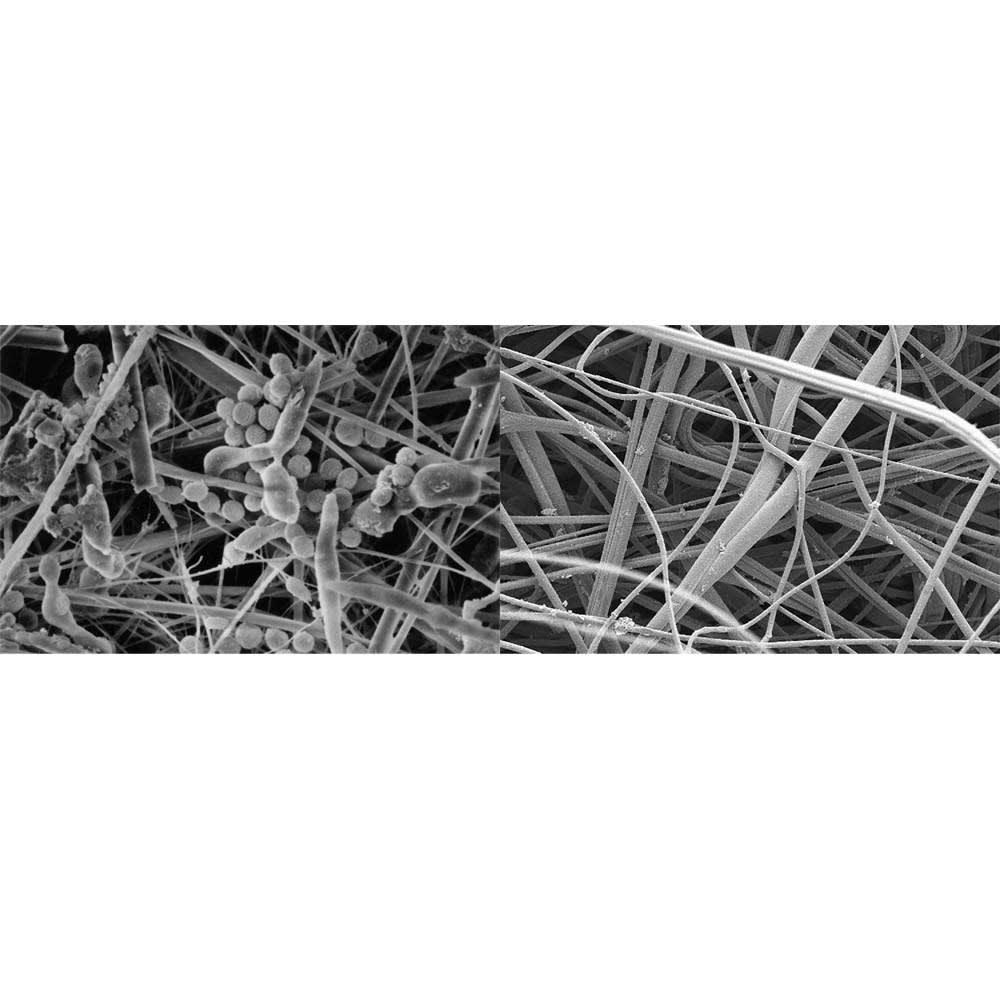 BALMUDA/バルミューダ エア エンジン Air Engine (空気清浄機) 交換用360°酵素フィルター (左)一般的なHEPAフィルター (右)360°酵素フィルター 主にクリーンルームなどの業務用で使われている酵素フィルターを採用。ウィルスをキャッチし、フィルター内での増殖を抑制します。