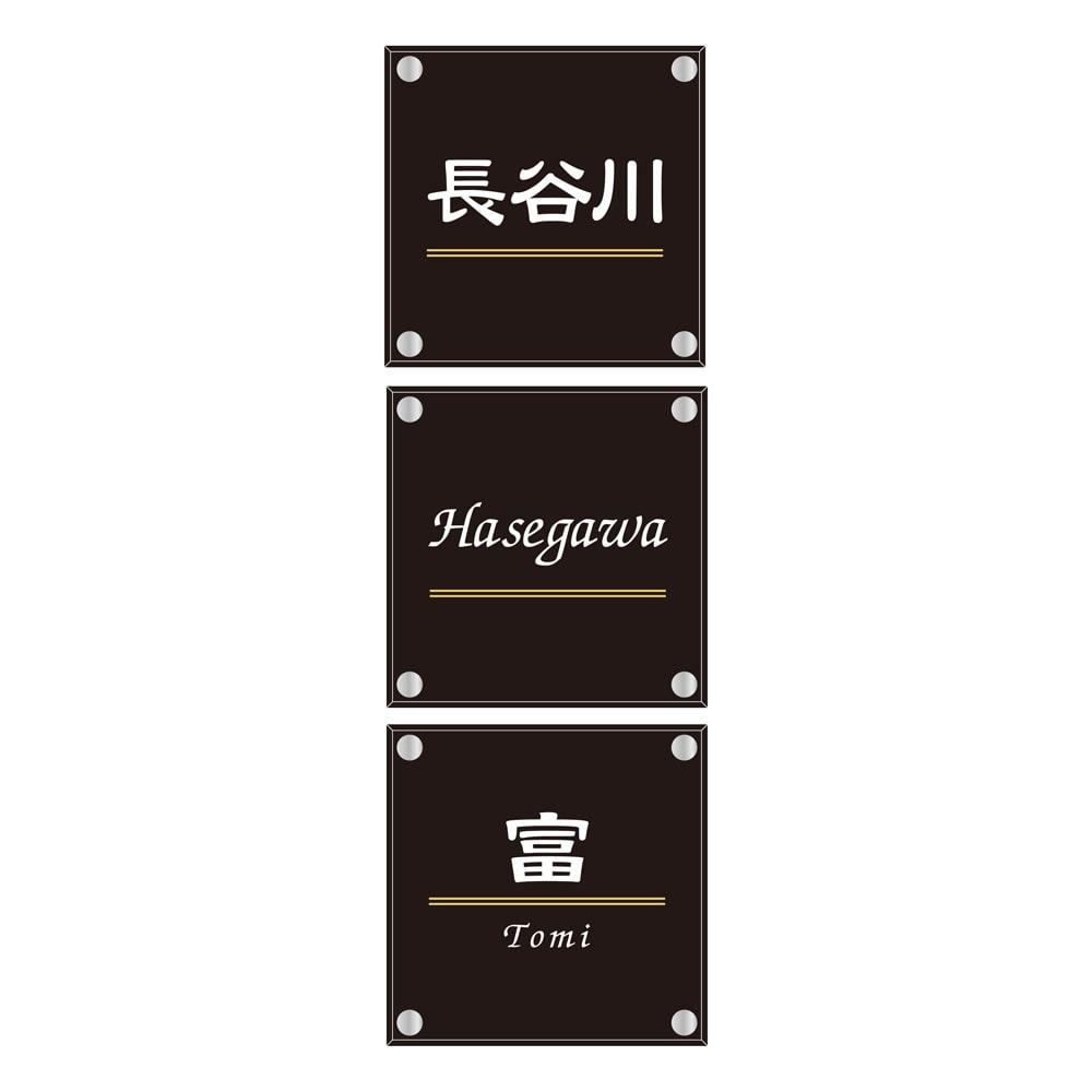 アクリル&ステンレス表札 戸建タイプ(15×15cm) (エ)~(カ)ライン柄にて、お名前を漢字のみ・アルファベットのみでご注文いただいた場合、デザインのバランスを取る為、ラインの位置が中央より下になります。