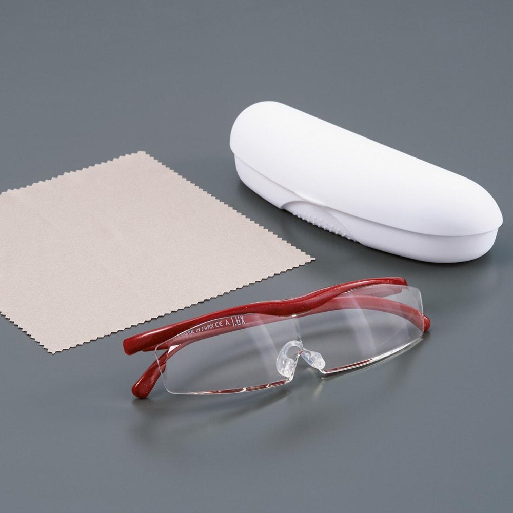 眼鏡型拡大鏡 ハズキルーペ コンパクト 1.6(ブルーライトカット 35% クリアレンズ) 専用の収納ケースとクロス付き。