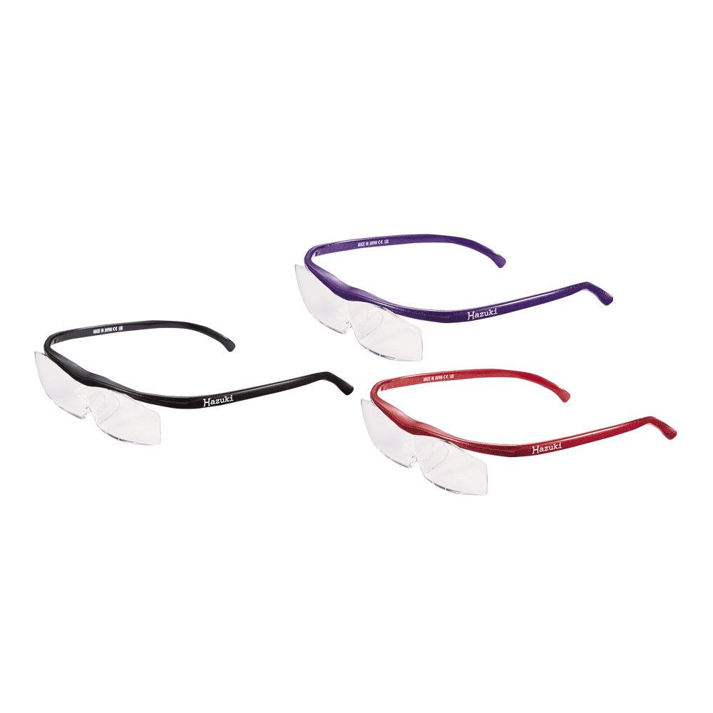 眼鏡型拡大鏡 ハズキルーペ コンパクト 1.6(ブルーライトカット 35% クリアレンズ) 上から時計回りに、(カ)パープル、(オ)レッド、(キ)ブラック ブルーライト約35%カット!
