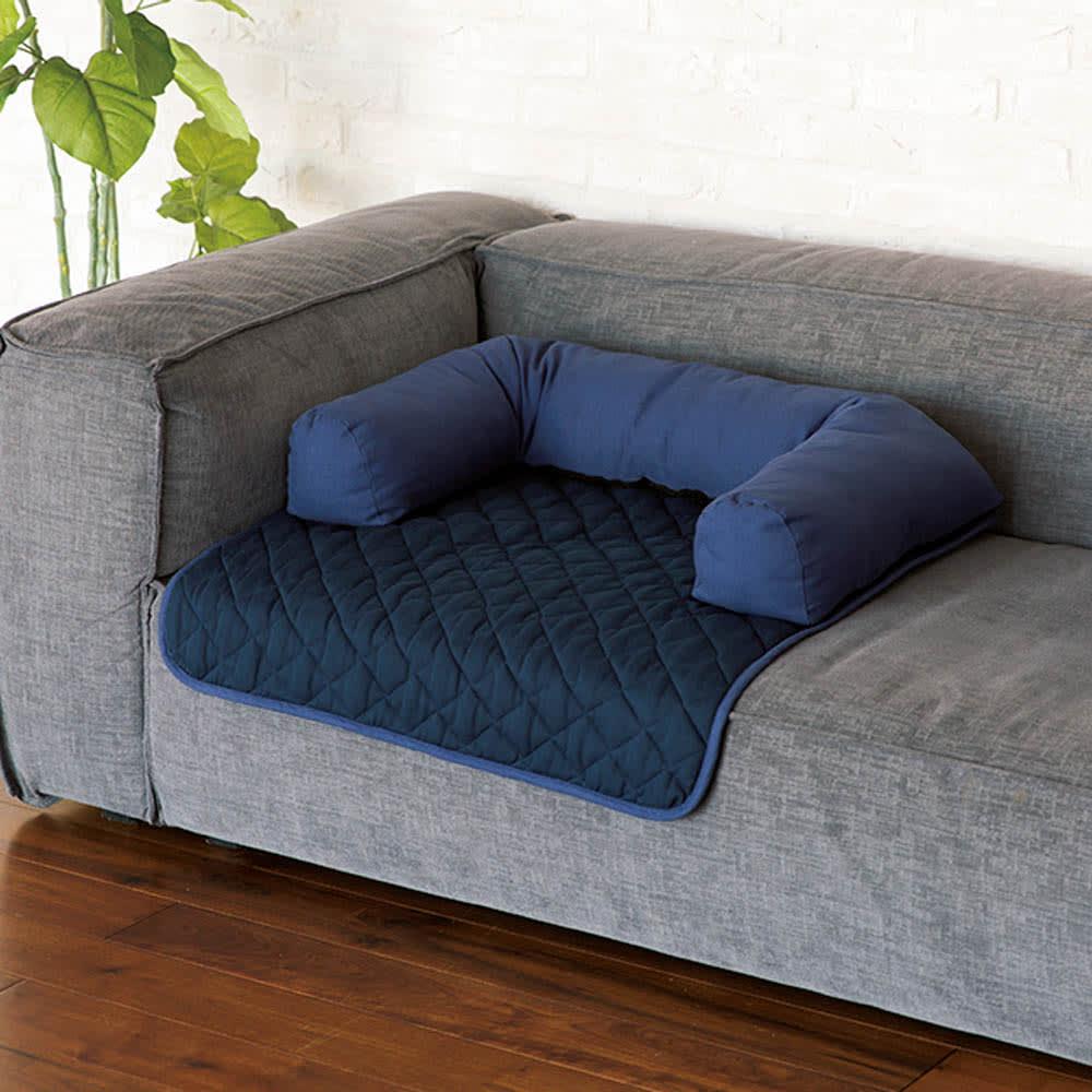 ソファを傷つけないペット専用ソファ「ソファオンソファ」 (イ)ネイビー お部屋になじむ2色をご用意。汚れが目立ちにくいネイビーも。