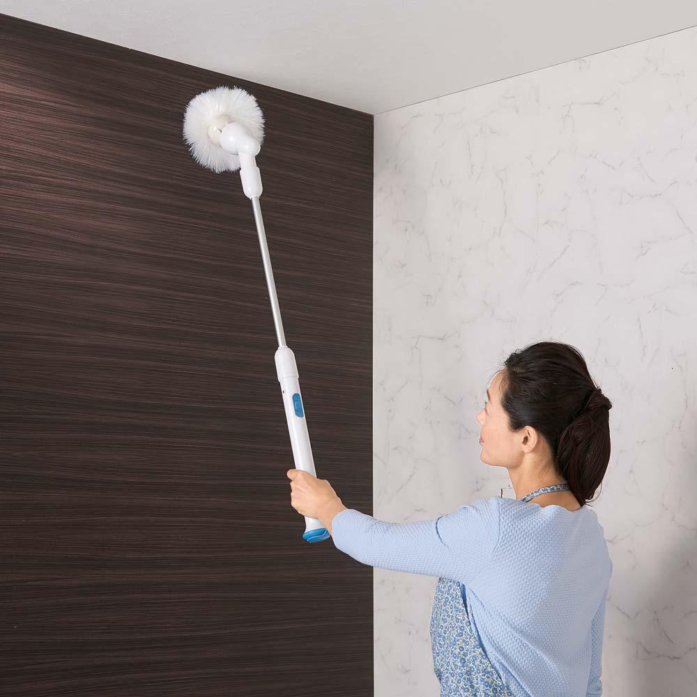 TWIBIRD/ツインバード 充電式バスポリッシャー ふろピカッシュEX 届きにくい壁や床の四隅なども、無理のない姿勢でお掃除できます。