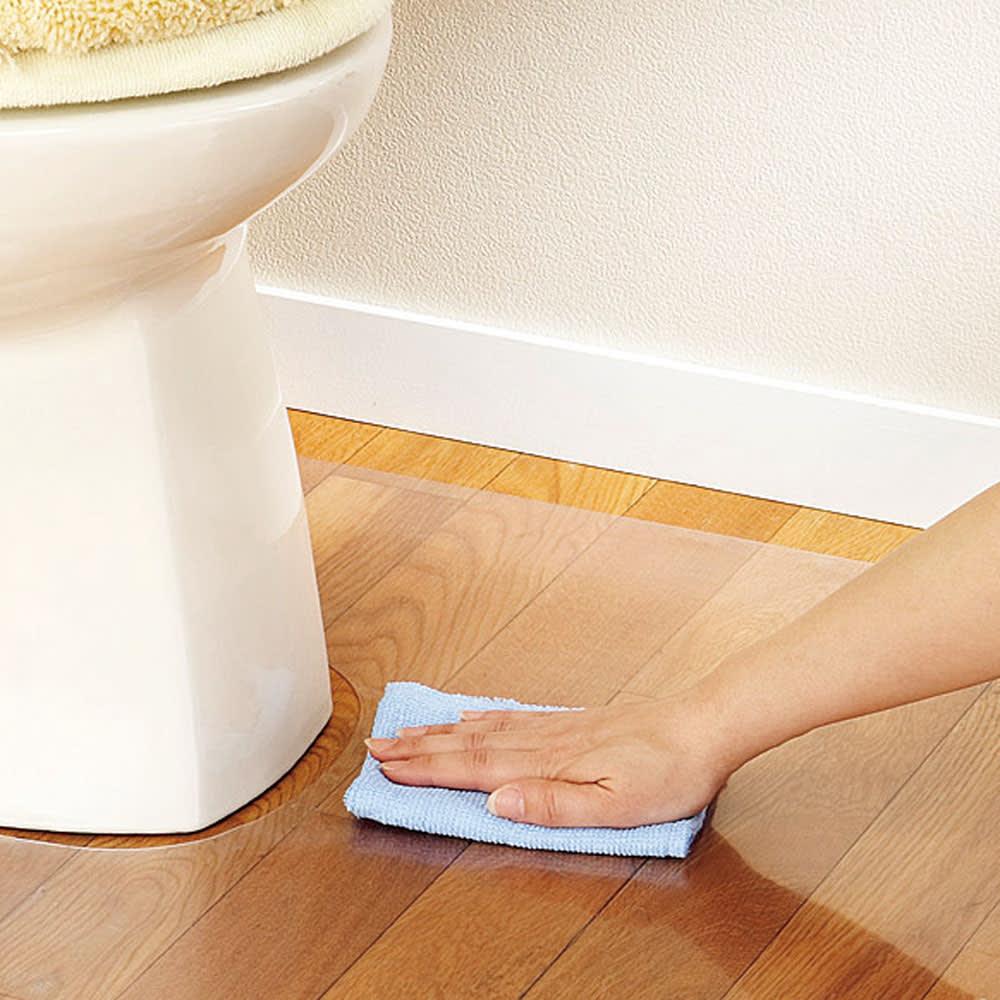 アキレス トイレ用 足元透明マット(抗菌剤配合) 幅80 はね汚れがラクに落とせる!