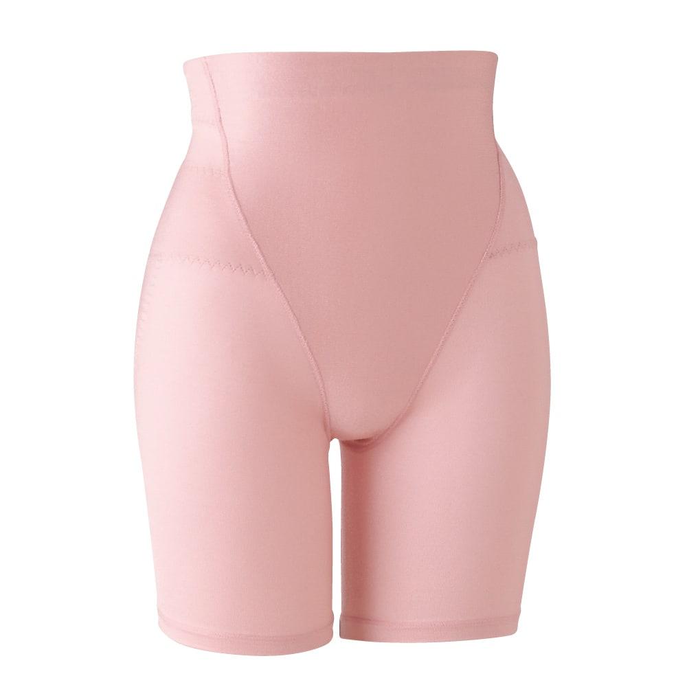 骨盤サポート綿混らくらくソフトガードル ガードル 気になる下腹部は身生地の二重仕様ですっきり。 サイドの身生地を二重にして骨盤周りをサポート。 (イ)ピンク
