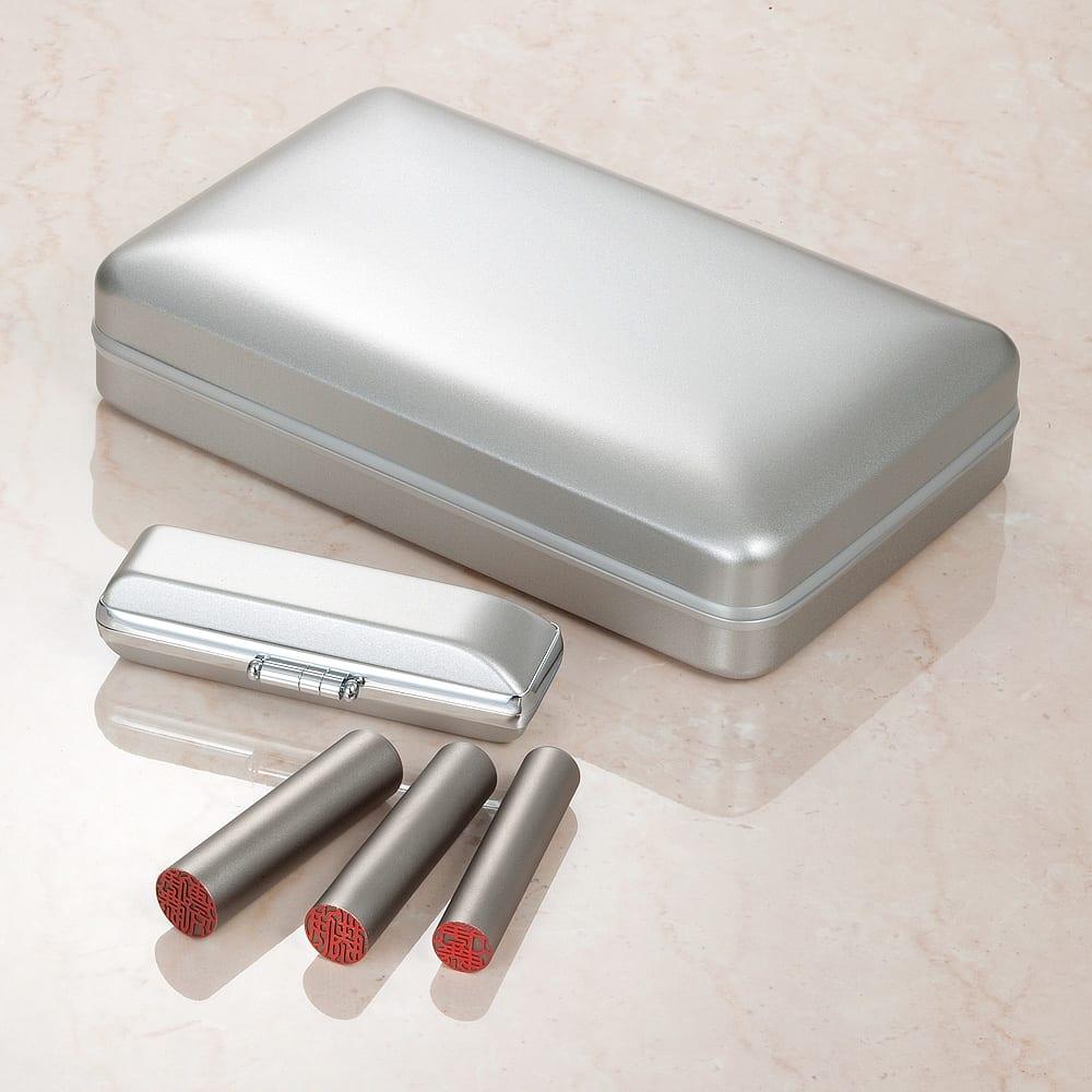 チタン印鑑 実印・銀行印・認印3本セット 専用ケース付き 優れた耐久性を持つチタン印鑑