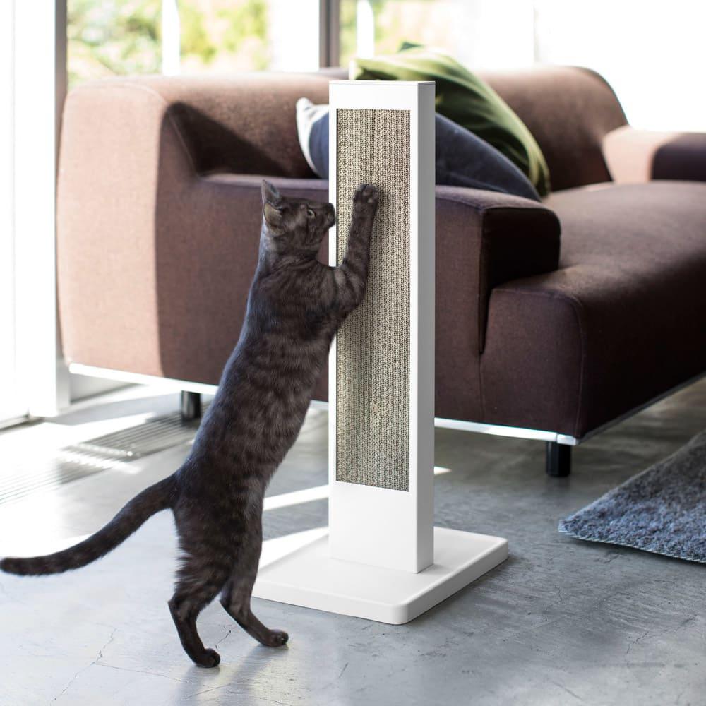猫の爪とぎスタンド タワー 使用イメージ(ア)ホワイト