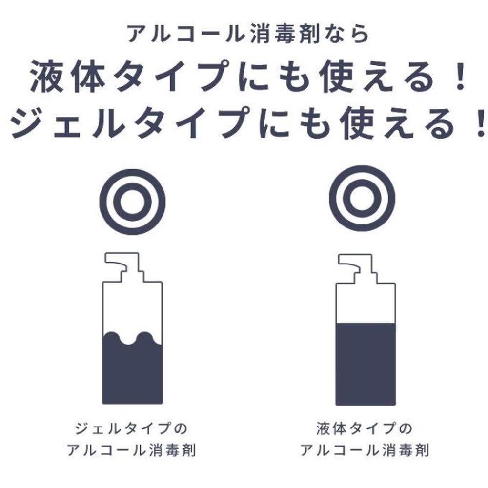 ジェルタイプも対応!アルコール消毒液オートディスペンサー 液体・ジェルタイプのアルコール消毒液、どちらもご使用頂けます。