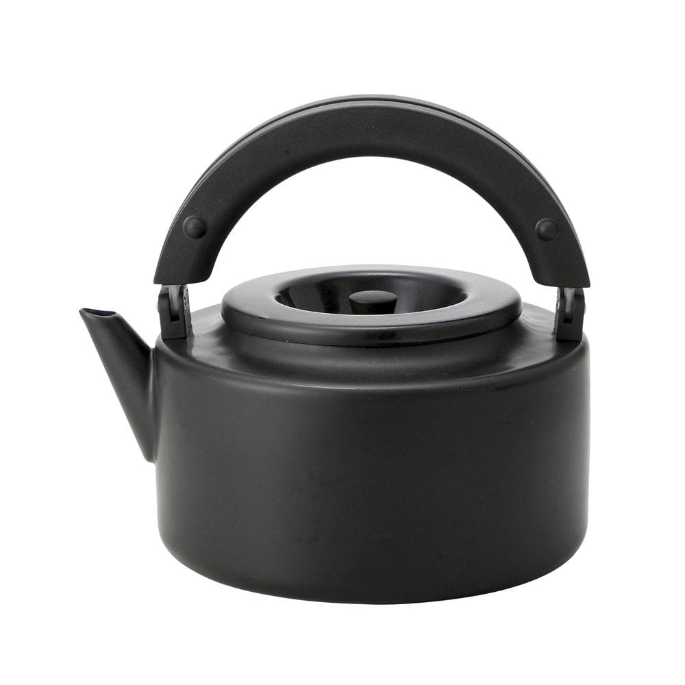 IH兼用 冷蔵庫にも入る収納便利なフラットケトル(茶こし付き) (ウ)ブラック