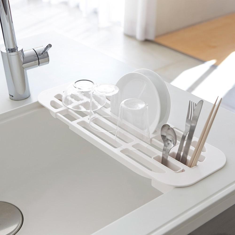 キッチン 家電 キッチン収納 水切り 水切りかご ラック 伸縮水切りラックタワー WH0086