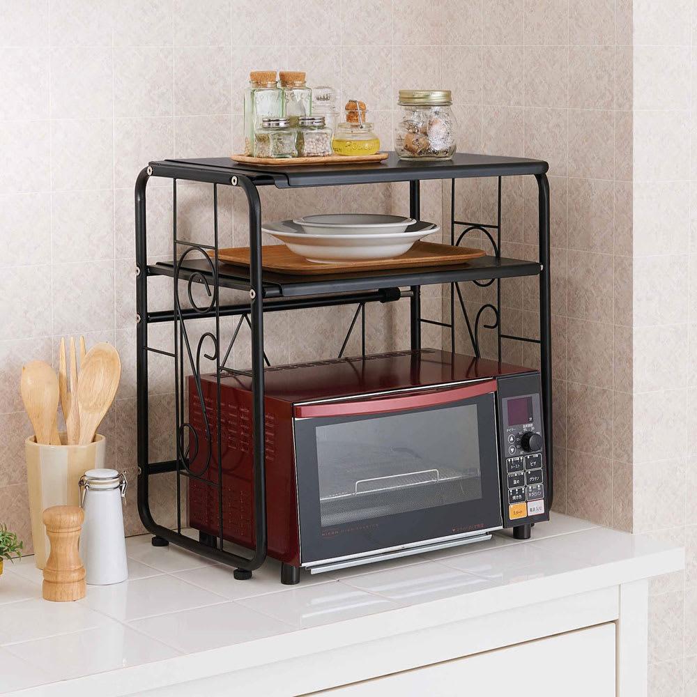 キッチン 家電 キッチン収納 水切り キッチン小物収納 家具 収納 食器棚 レンジ台 レンジラック キッチンラック 伸縮式2段レンジラック WH0168