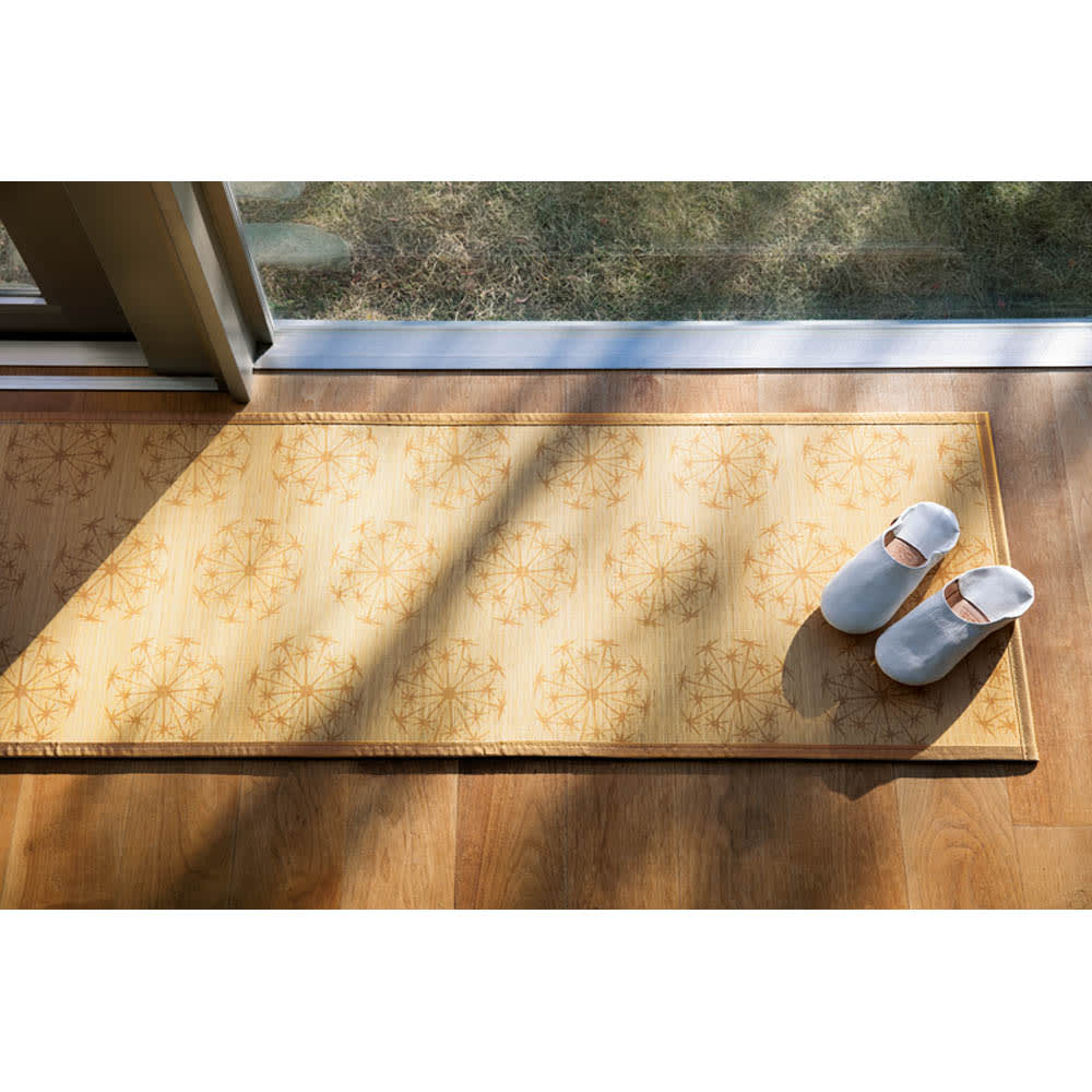SCANDINAVIAN PATTERN COLLECTION 竹プリントラグ&マット (イ)イエローベージュ ※写真は50×200cmです。