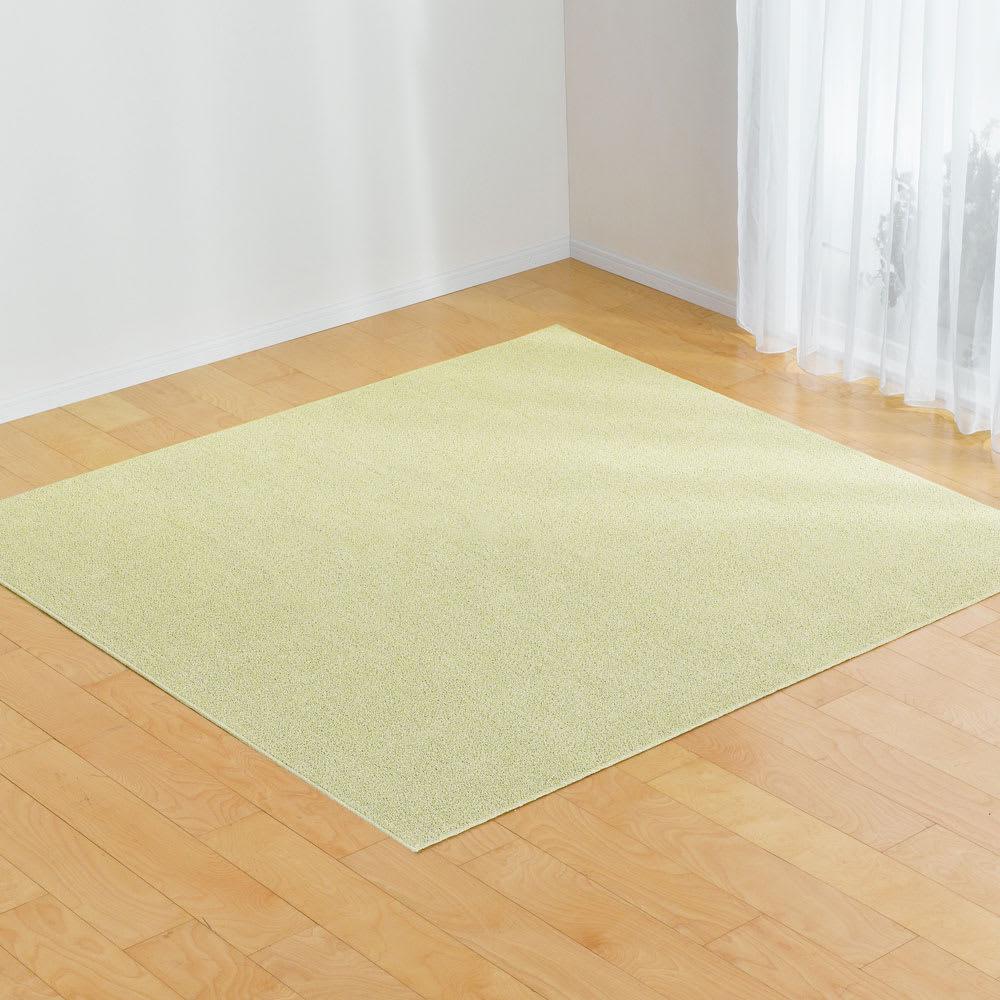 軽量はっ水綿ラグ 約190×290cm (ウ)グリーン