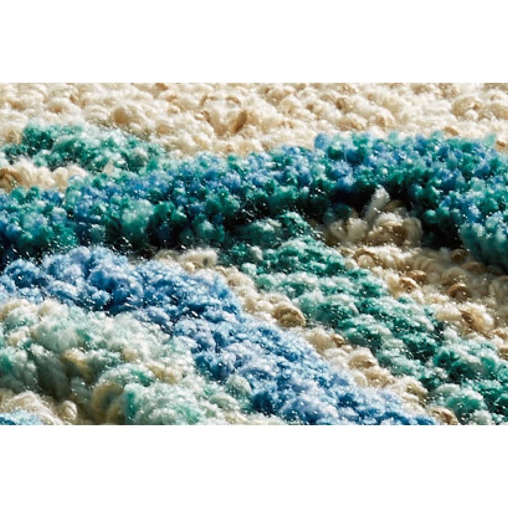 ミラ・ショーン玄関マット〈メイズ〉 素材アップ(ア)ブルーグリーン系  凹凸感があります。