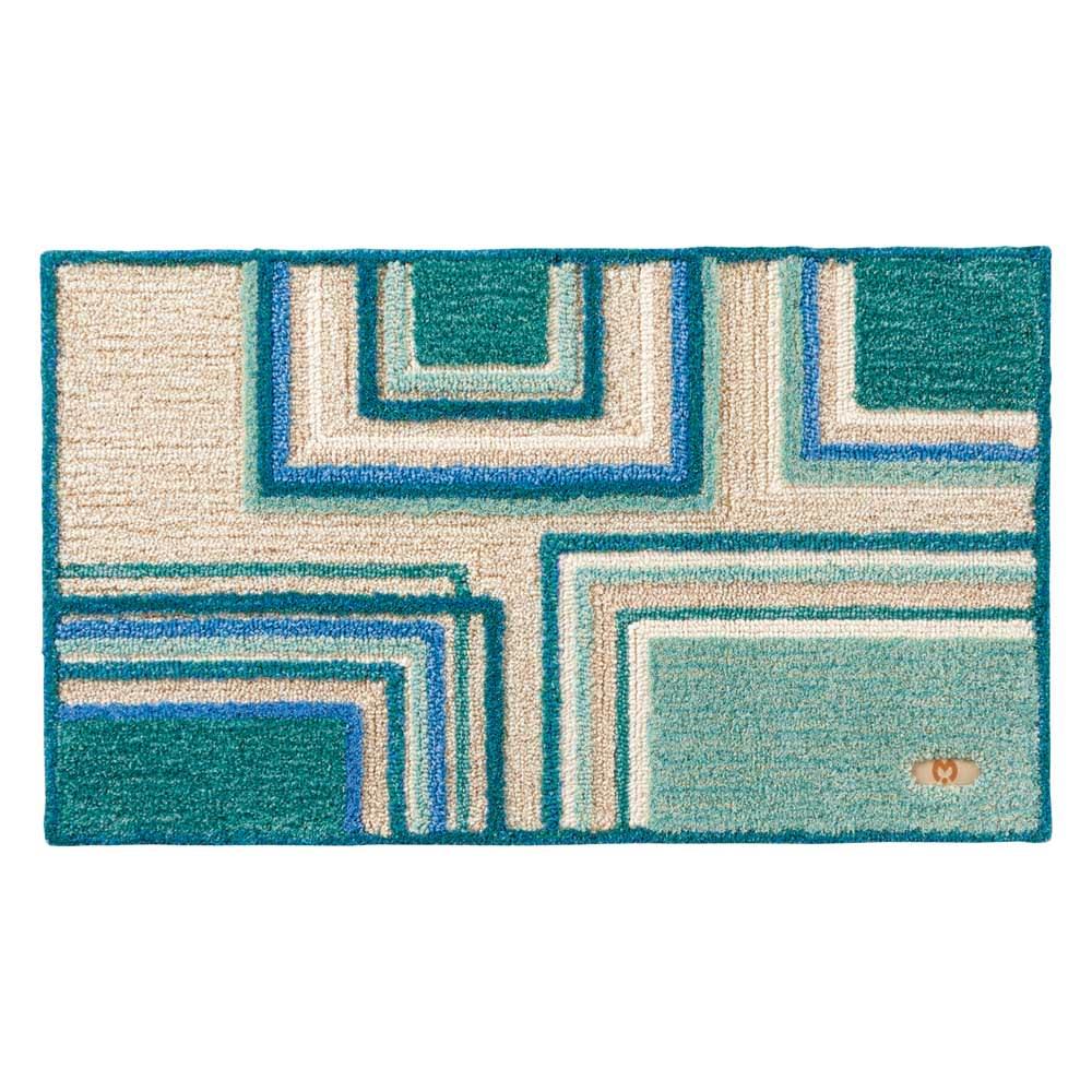 ミラ・ショーン玄関マット〈メイズ〉 (ア)ブルーグリーン系 ※写真は約70×120cmサイズです。