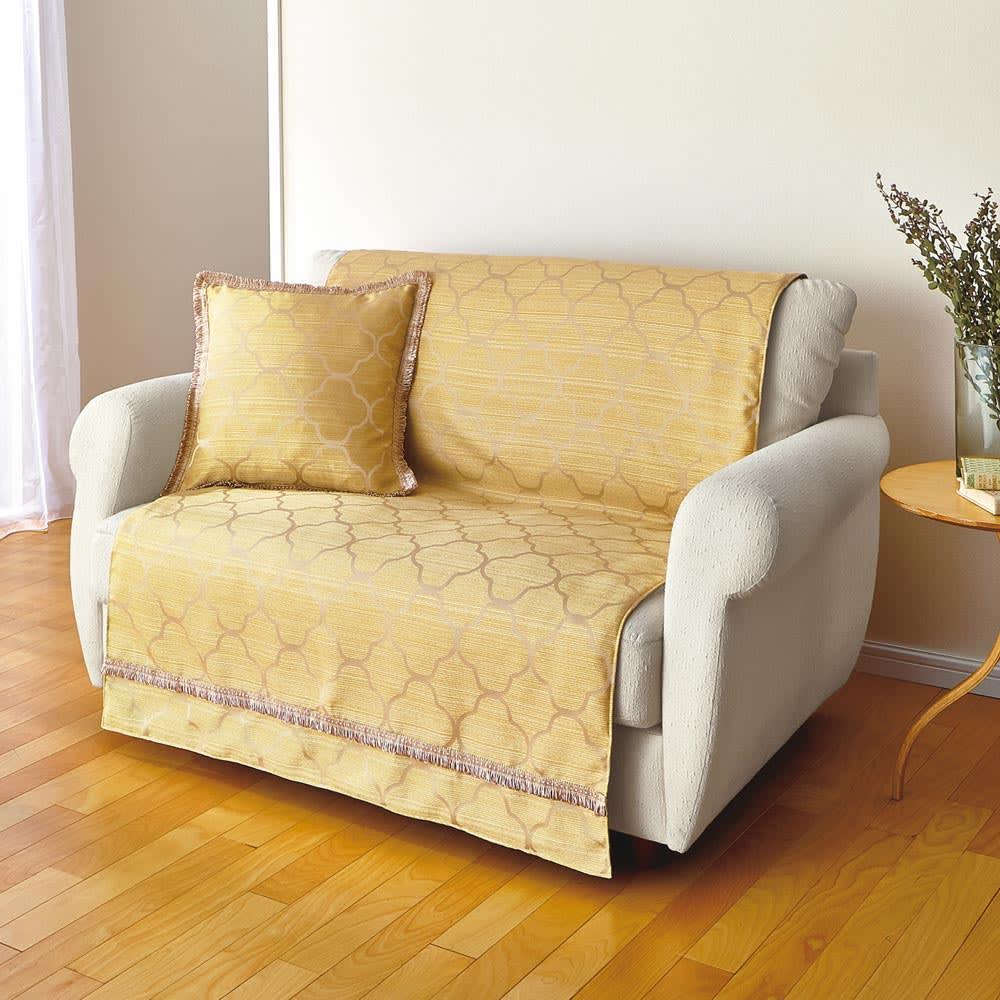 モロッコタイル柄 ジャカード織りソファカバー [アレックス] アームなしタイプ (イ)イエロー ※写真は2人掛用です。クッションカバーは別売りです。