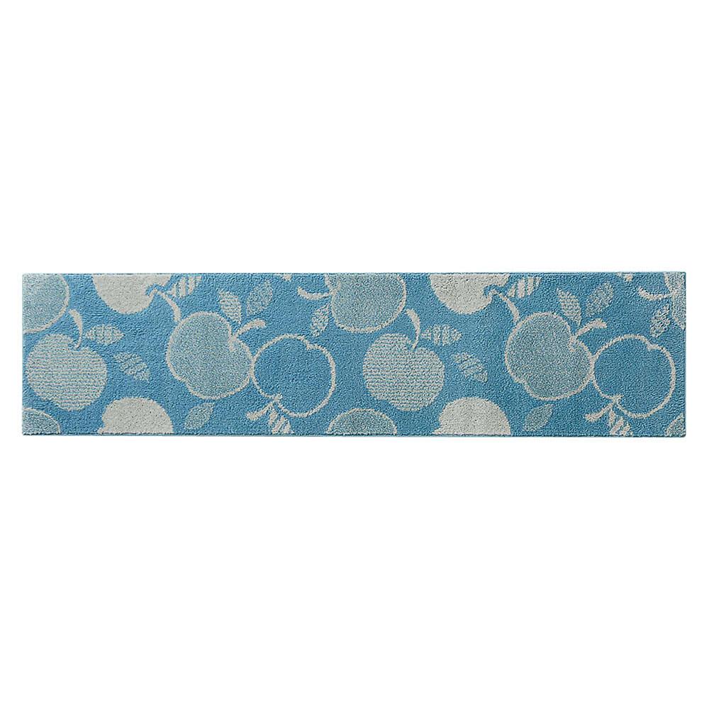 消臭汚れにくいキッチンマット(バラ柄・シダ柄・リンゴ柄) (オ)リンゴ柄ブルー ※写真は約60×240cmタイプです。